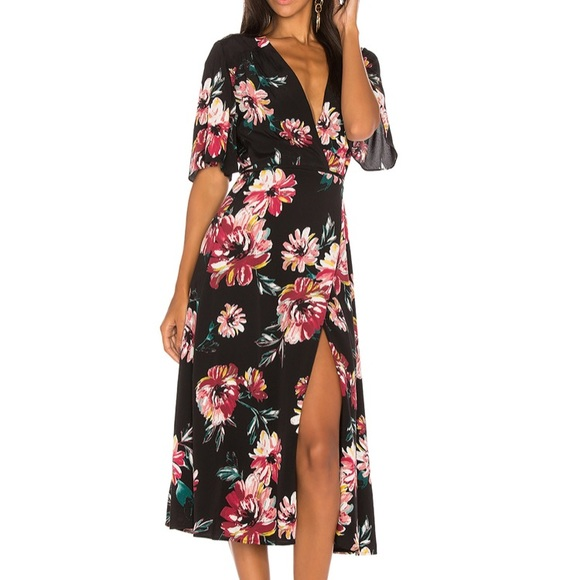 1. State Dresses & Skirts - NWOT 1.STATE Floral Black Wrap Dress--Small